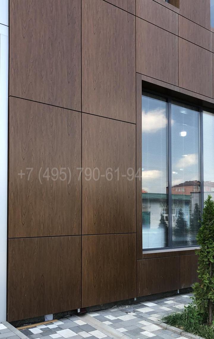 Вентилируемые фасады из композитных панелей темный дуб